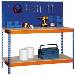 Banco de trabajo con panel porta herramientas